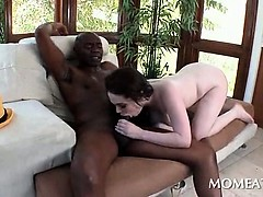 Brunette in big tits barely fitting black monster dick in pussy
