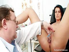 Brunette princess and elder dirty woman doctor