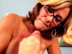 Milf Handjob Mature With Glasses Wanking