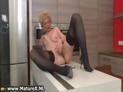 Horny older lady in sexy black stockings part6
