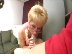 Hungry Milf Wearing Glasses Sucks Cock For Very Lucky Guy