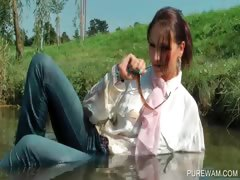 Brunette Cutie Gets Wet In The Lake