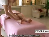 Subtitled Japanese milf has topless lesbian oil massage