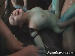 Nasty asian lady gets her hairy cunt part1