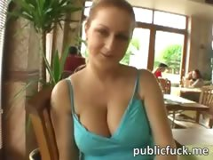 Naughty honey flashes boobs and fucked