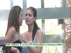 Emily and Danielle adorable lesbian teenages public flashing tits